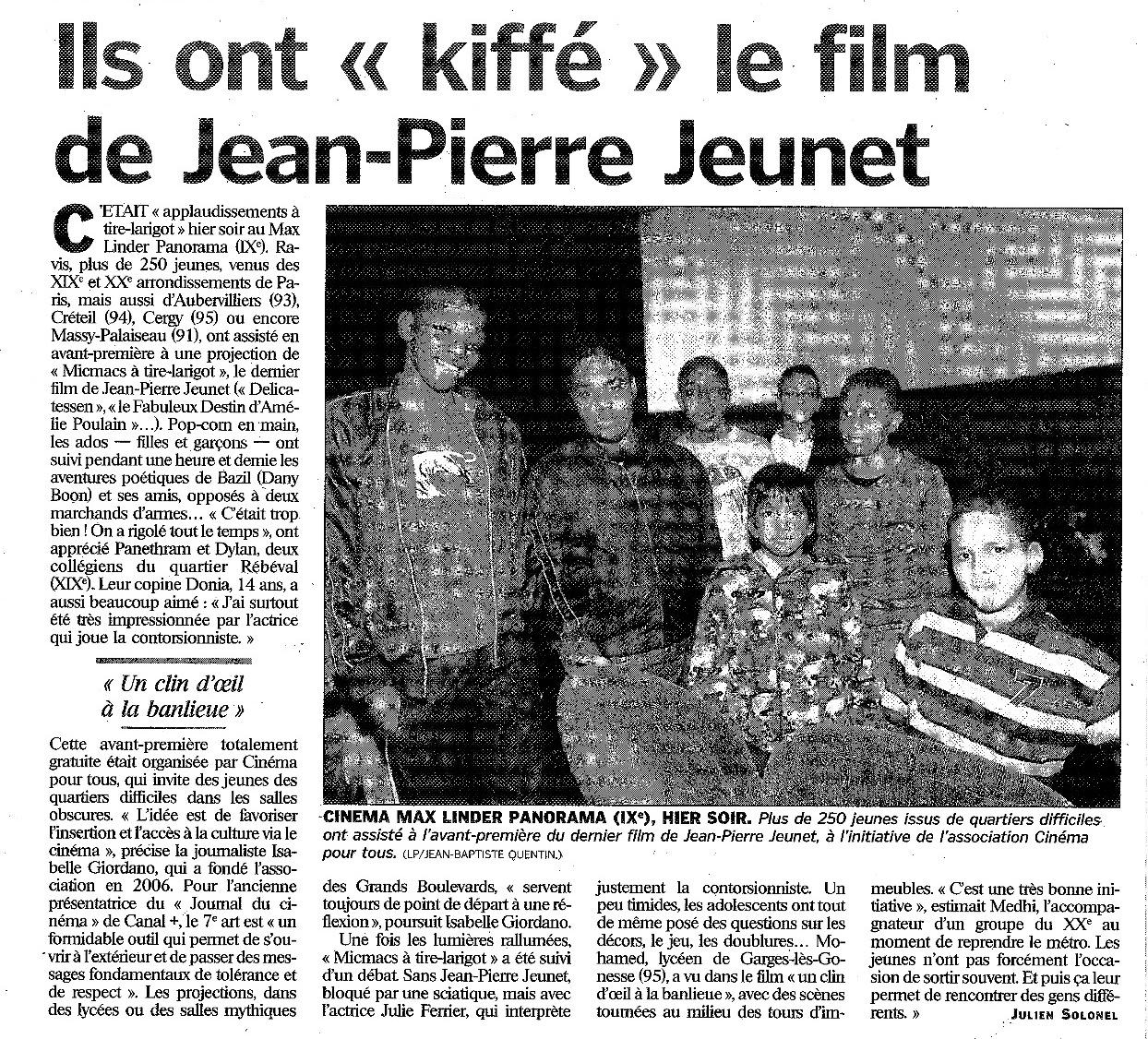 article paru dans le Parisien du 24 octobre 2009